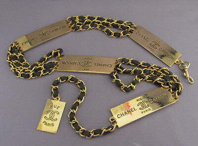 Vintage Gold Tone 3 Triple Chain Rue Chanel Cambon Panel Logo Belt