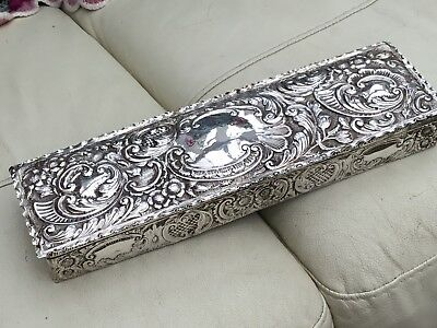 Large Antique Edwardian Silver Gloves Box, Chester 1902 - 35cms Length