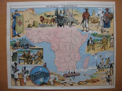 1948 - PINCHON - Illustrated map CENTRAL AFRICA