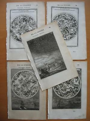 1683 - MALLET - 2 pairs CELESTIAL maps by hemisphere and an engraving of stars