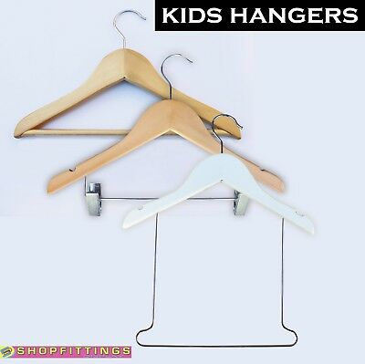 Children's wooden coat hangers with notches and bar for kids clothes
