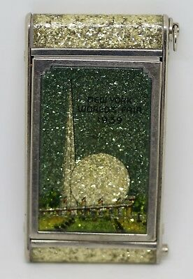 Antique 1939 New York Worlds Fair Girey Mirrored Make Up Compact Sparkly