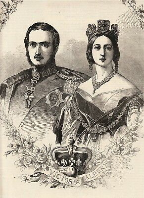 Original ILLUSTRATED LONDON NEWS Newspaper Drawing of Queen Victoria and Albert