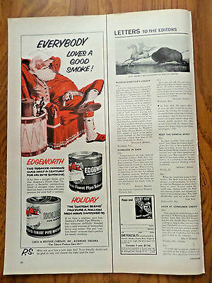 1955 Edgeworth Pipe Tobacco Ad Everybody Loves Good Smoke Santa Claus Christmaa