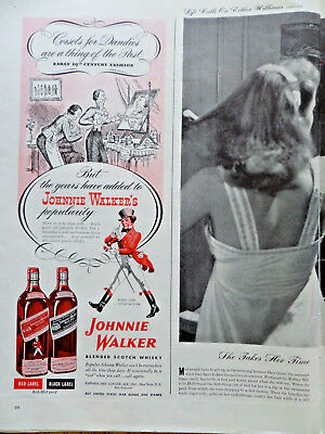 1945 Johnnie Walker Scotch Whiskey Whisky Ad Corsets for Dandies