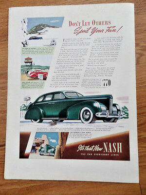 1939 Nash 4 Door Sedan Ad $840 The Car Everybody Likes