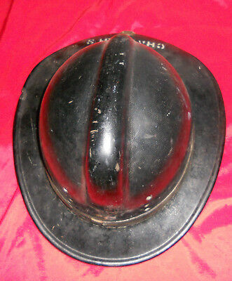 Vintage Black Fiberglass Fireman Hard Helmet 7 3/8 Possible Cairn