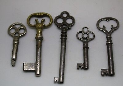 #9  Antique Ornate Skeleton Keys Cabinet Door Iron Brass  Variety Lot of 5
