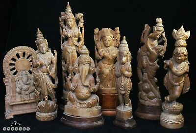 Collection of Antique Indian Boxwood Carved Hindu Deity Figures