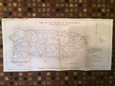 1939 Puerto Rico Dept. of the Interior Island Map Showing Roads & Railroads