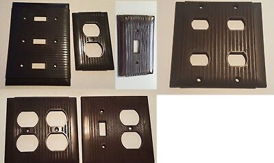 Vintage Uniline Ivory Bakelite Ribbed Outlet Switch Plate Covers ~ Brown Striped