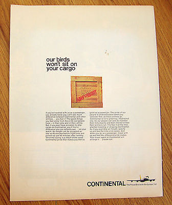 1966 Continental Airlines Ad Our Birds won't Sit on Your Cargo