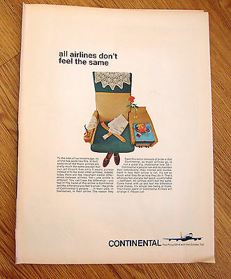 1966 Continental Airlines Ad All Airlines don't feel the same