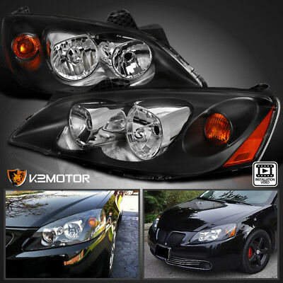 2005-2010 Pontiac G6 Replacement Black Headlights Head Lamps Left+Right