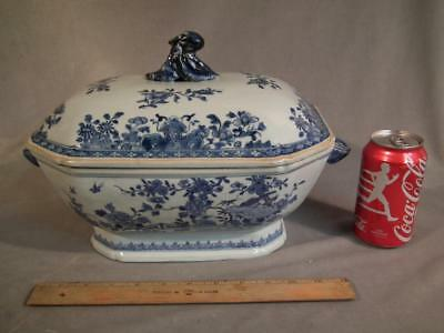 """Circa 1800 Large Chinese Blue & White Covered Tureen / 15"""" Bowl"""