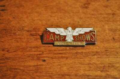 """Ex/rare Orig Wwii """"camp Shows Hat Pin"""" Pin/patch - Heavily Hall Marke/pin Back"""