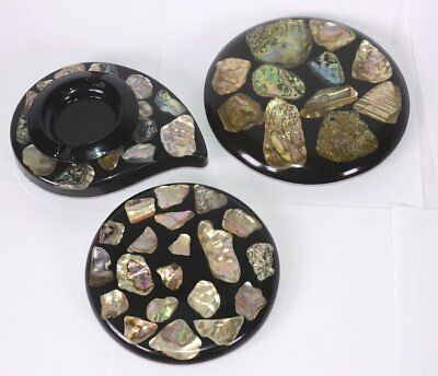 Lot of 3 Vintage Handmade Lucite & Genuine Abalone Ashtray w/ Matching Trivets