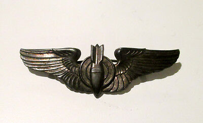 WW2 Army Air Force Air Corps Full Size Pinback Sterling Bombardier Wings Bomber