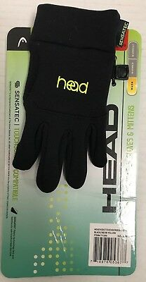 Head Kids' Touchscreen Gloves Size M Ages 6-10 Black/Neon Yellow