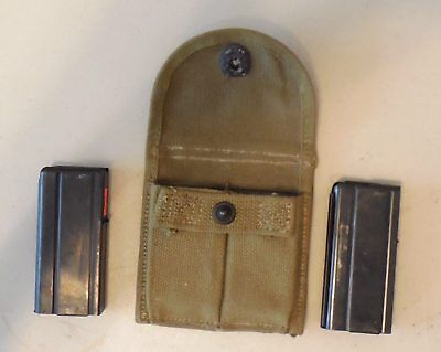 original WWII US M1 Carbine Stock Pouch with 2/10 Rnd. Mags
