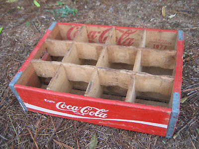Vtg 1970s Coca Cola Wood Soda Case Coke Crate Caddy Temple/Chattanooga 1977 pop