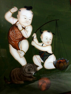 Antique Chinese Reverse Glass Painting Children Babies Playing with Kitten