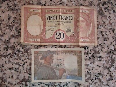 Lot of 2 - 20 VINGT FRANCS, 10 DIX FRANCS France Currency Notes