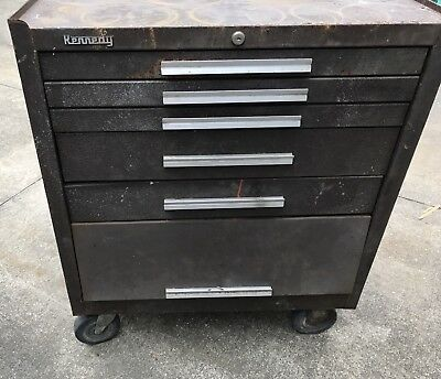 Ak/Clv-OHIO-KENNEDY 5 DRAWER ROLLING 295-TOOL CABINET/CHEST-BOX-Wheels-Needs-TLC