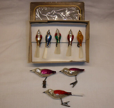 8 vintage Clip On Glass Christmas Ornaments BIRDS in original box Czechoslovakia