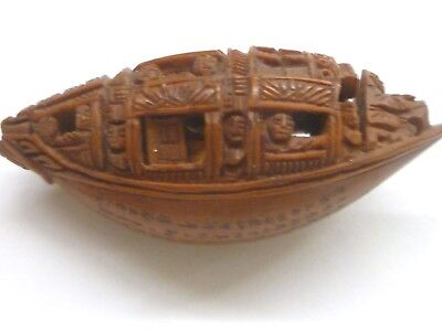 ANTIQUE 19thc ASIAN CHINESE INTRICATE TINY BOAT CARVING Story on Bottom Signed