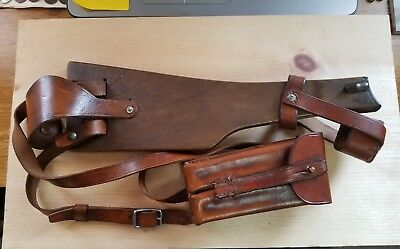 German Artillery Luger Original Board Stock W/ Repro Leather