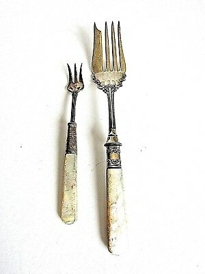 Two Antique Serving Forks, Mother Of Pearl Handles With Sterling Ferrules