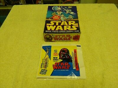 1977 TOPPS Star Wars 2nd Series Empty Display Box & 19 Wax Wrappers (SCARCE!)