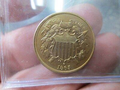 1865 Us 2 Cent Coin In Uncirculated Condition