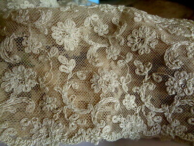"""Exceptional Antique Embroidered Netted Lace Fragment 9"""" By 5"""" Gorgeous"""