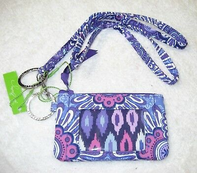 Vera Bradley NWT Lilac Tapestry purple Zip ID Case Wallet Lanyard Key Ring #61a
