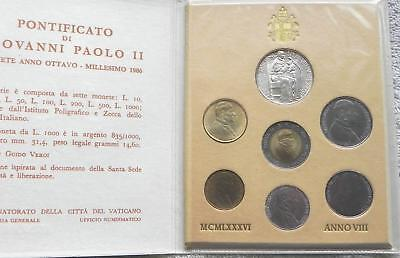1986 Vatican Mint Set with SILVER in Original Presentation Case. Very Nice.