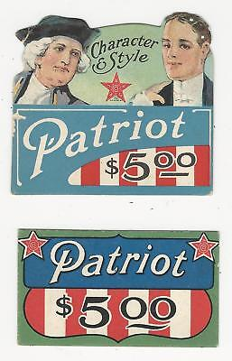 (2) Vintage shoe adv, store tags, Red, White & Blue ads, PATRIOT SHOE, ca1910s