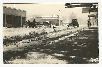 RPPC, Snow on streets, Post Office, gas pumps, Big Timber, Sweet Grass Co, MT