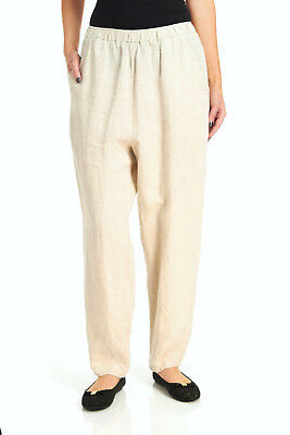 MATCH POINT LP160 Linen Lagenlook Totokaelo Tapered Pants Pockets Natural Flax M