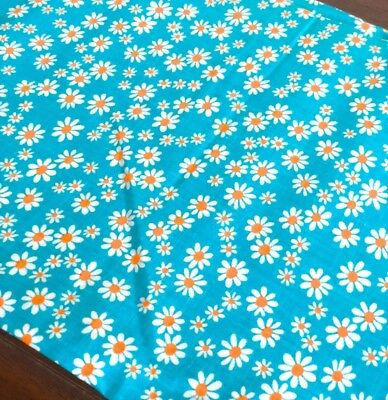 Vintage Cotton Fabric, Small White and Orange Daisy, on Turquoise Background