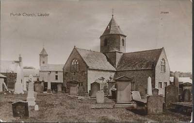 Lauder, Berwickshire (Borders) - Parish church - postcard local pmk 1913