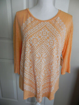 NWT $39.50 Womens Lucky Brand Top Shirt Tunic Size Medium Tangerine