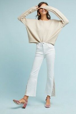 NWT $158 sz 25 Anthropologie Pilcro High-Rise Sequin Cropped Flare White Jeans