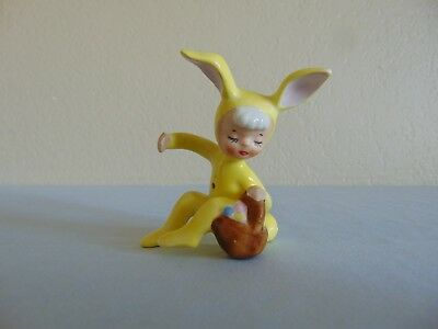 Vintage Holt Howard Easter Boy In Yellow Bunny Suit Candle Hugger