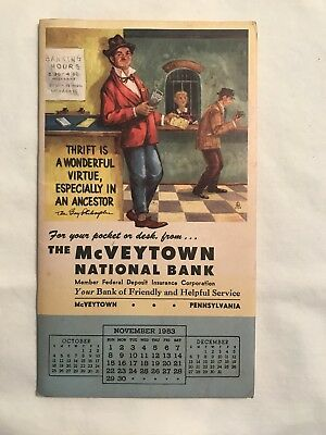 McVeytown, Pa., 1953 Advertising calender National Bank, Lewistown