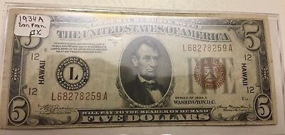 -1934 A $5 Five Dollars Hawaii WWII Emergency Brown Seal Federal Reserve Note