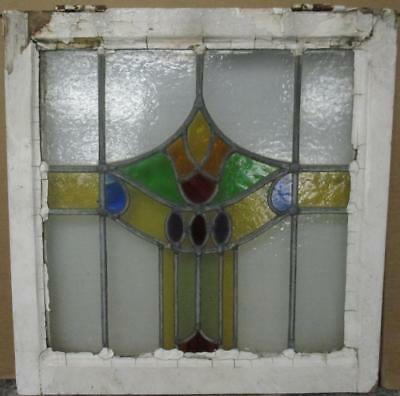 "OLD ENGLISH LEADED STAINED GLASS WINDOW Colorful Floral Band Design 20"" x 20.5"""