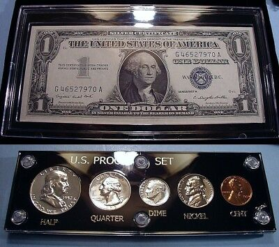 1957 U.s. Mint Silver Proof Coin & Currency Set Collection Brilliant & Flashy