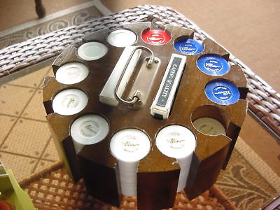 Ford Intro 1971 Pinto Advertising Poker Chips W/ Revolving Wood Carry Case